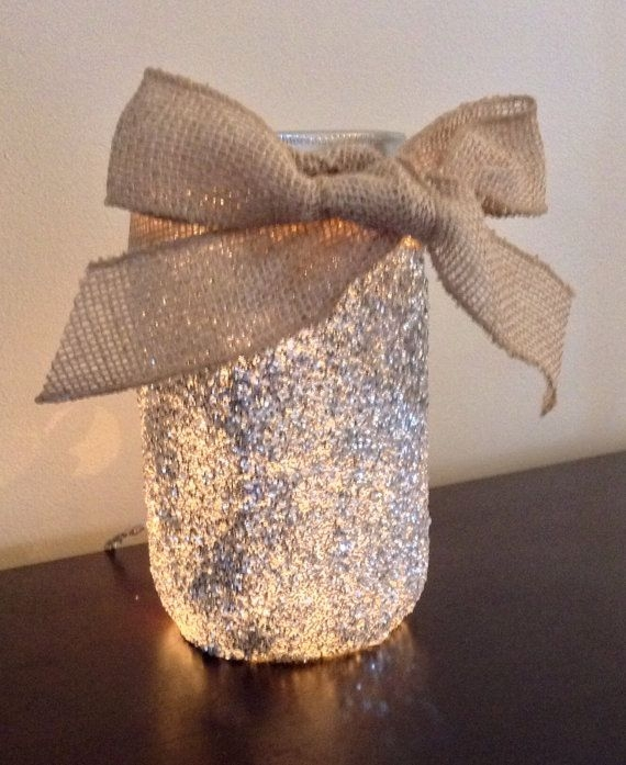 Glitter Lighted Mason Jar Lamp