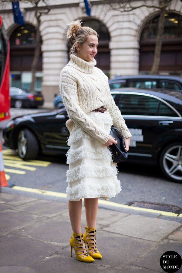 Turtleneck Sweater and a Ruffled Skirt