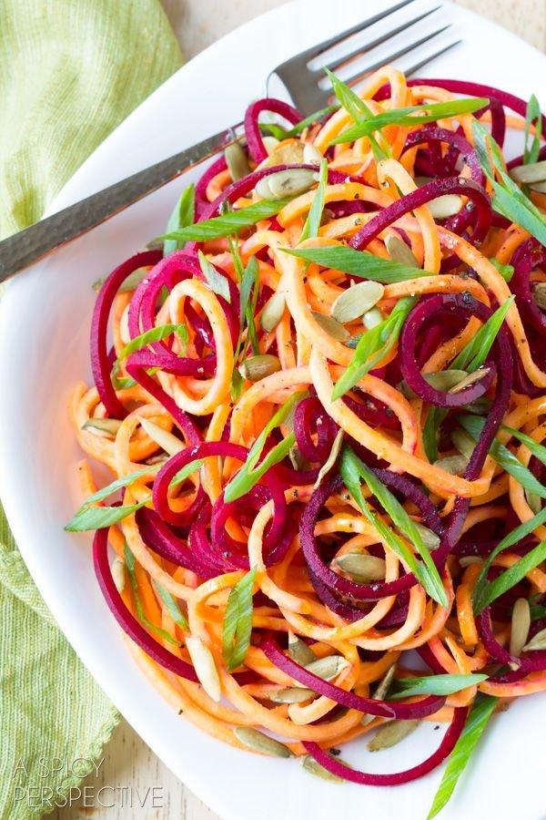 Raw Beet and Sweet Potato Salad