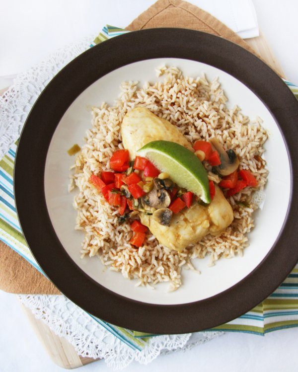 Pair a White Fish Fillet with Brown Rice and Steamed Veggies