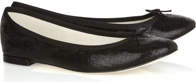 Repetto BB Textured-Leather Ballerina Flats
