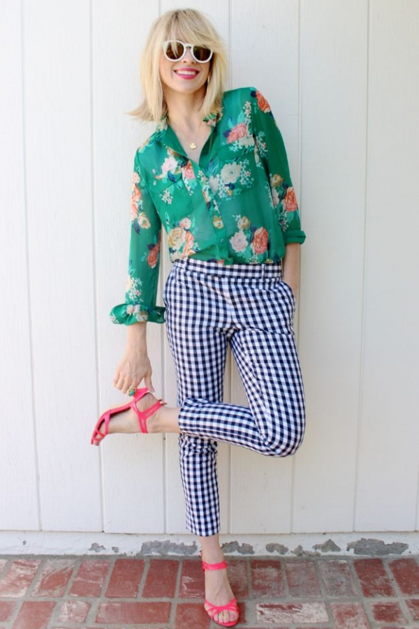 Floral Blouse with Gingham Pants