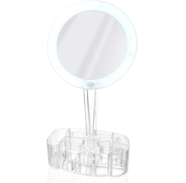 Magnifying Makeup Mirror with Cosmetic Organizer Base