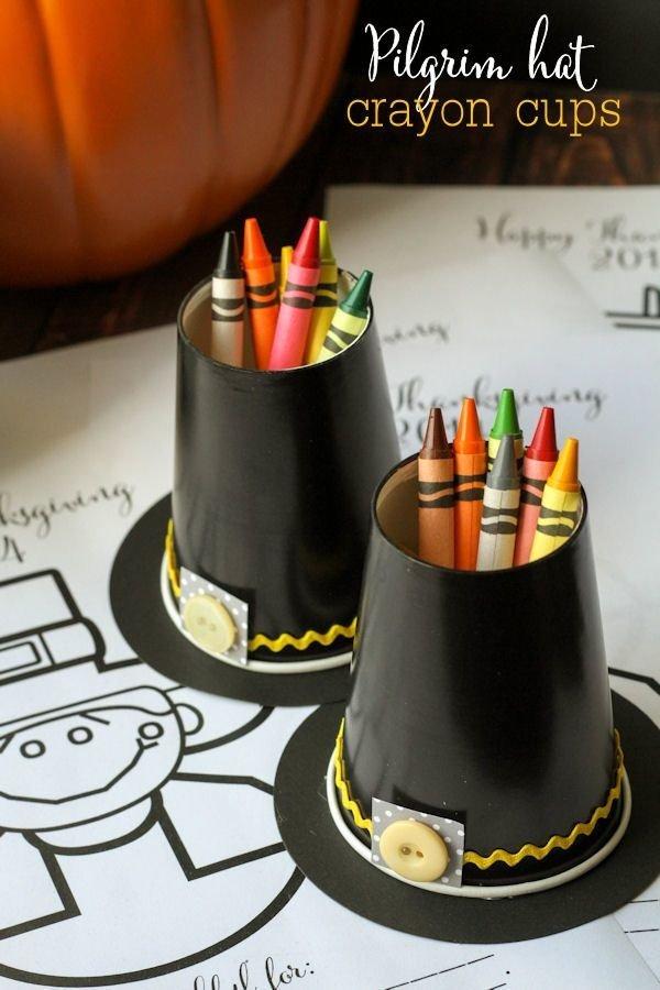 Pilgrim Hat Crayon Cup Holders