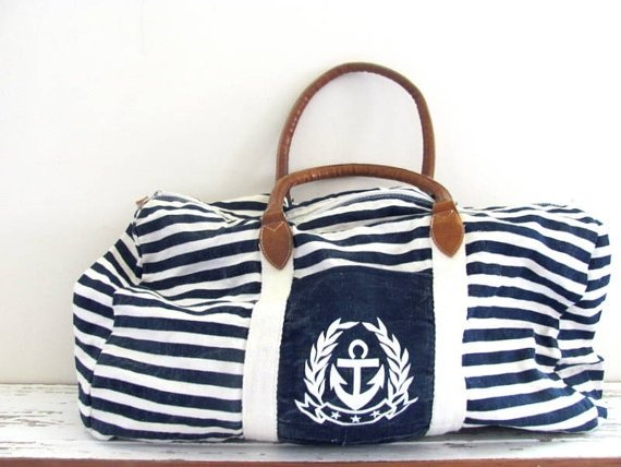 Vintage Large Nautical Overnight Carry on Duffle Bag