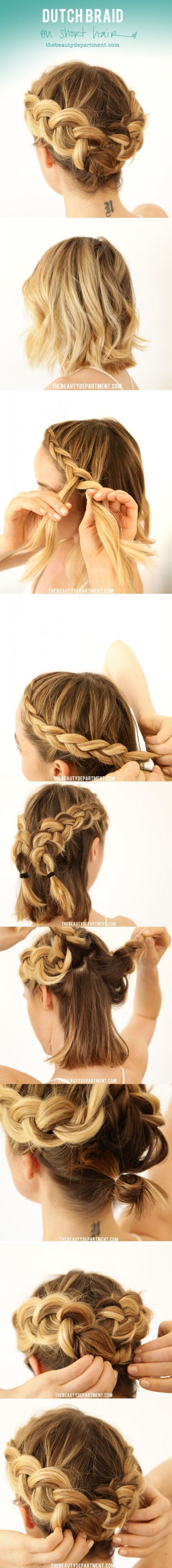 Dutch Braid on Short Hair
