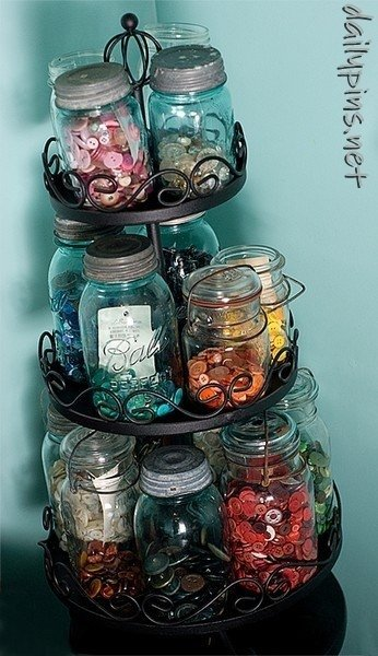 Button Storage 22 Outstanding Sewing Room Ideas for Your Space