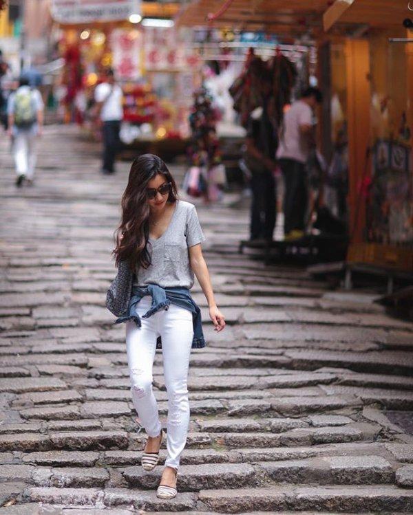 road, street, girl, pedestrian, rain,