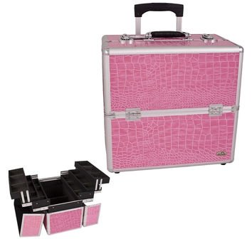 Pink Crocodile Textured Professional Rolling Makeup Case