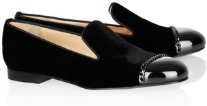 Christian Louboutin Leather and Velvet Loafers