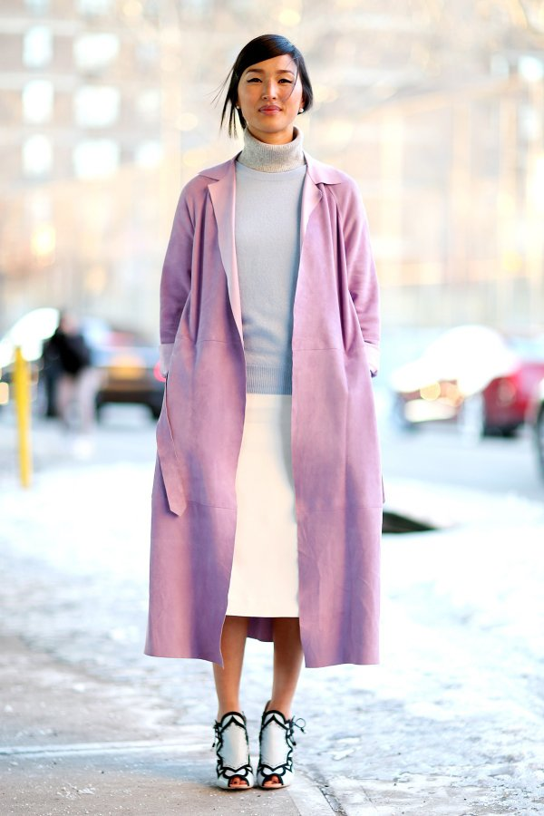 Lavender Jacket with a Grey Turtleneck