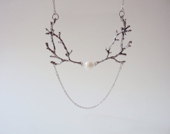 Silver Twig Necklace with Pearl