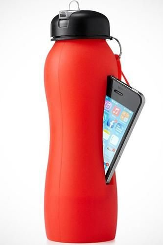 A Squishy Water Bottle That Holds Your Phone While You're Working out