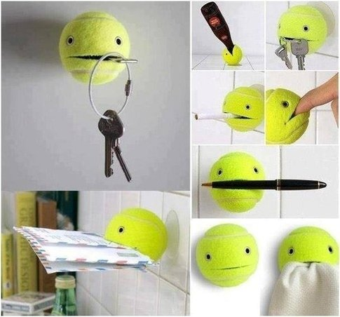 Instead of Hammering Hooks into Walls, You Can Glue a Suction Cup to a Tennis Ball, and Cut a Small Part of It Open. Instant Everything Holder!