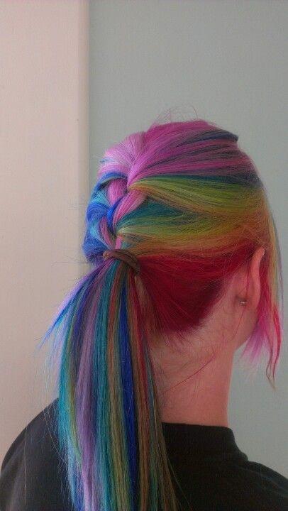 Rainbow Hair Looks so Cool when Its Braided