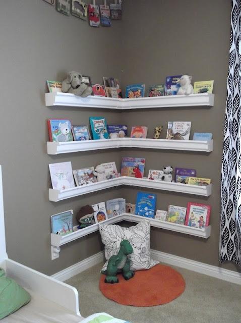 lluvia canal estantes para libros