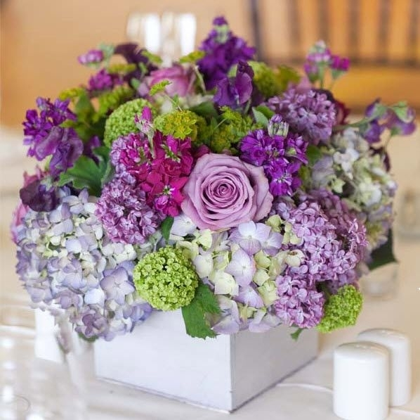 Purple seaside flower arrangement elegant