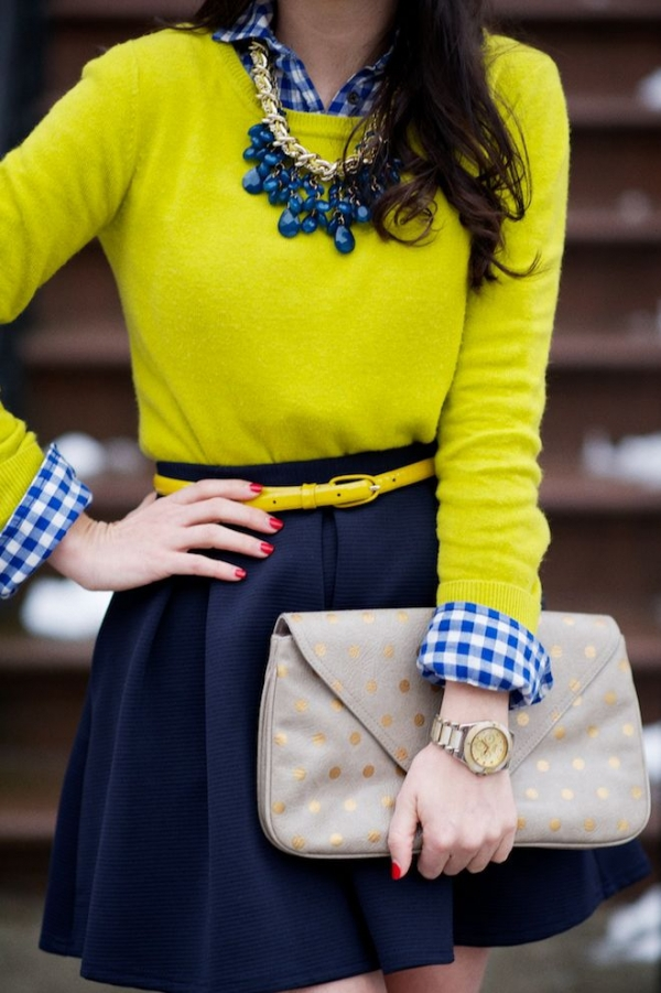 Navy Check with a Pop of Yellow