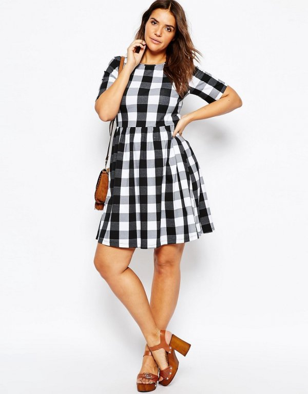 clothing, plaid, day dress, dress, sleeve,