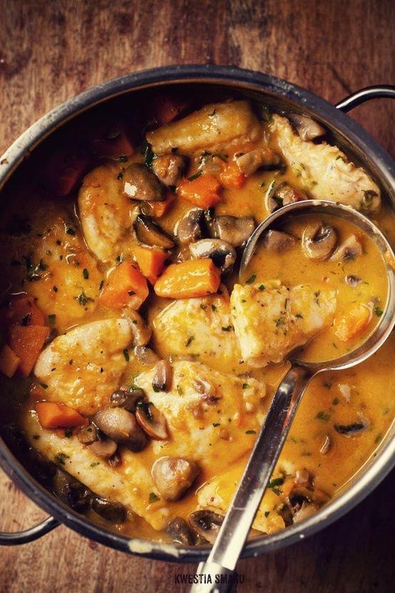 23. Chicken, Mushroom and Pumpkin Stew - 25 Decadent Pumpkin 🎃…