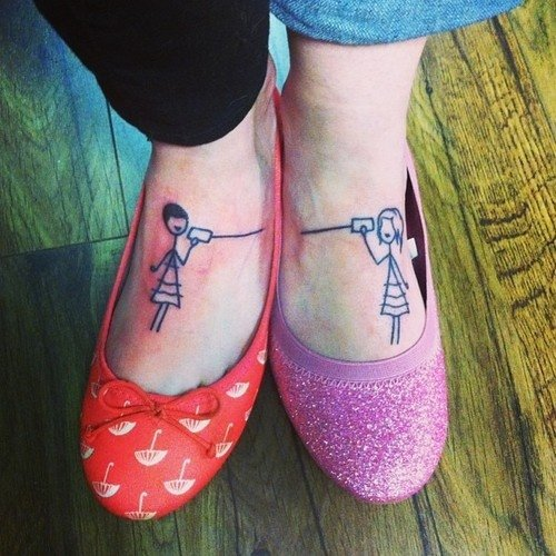 Phone lines you your bff super cute tattoo ideas for Cute best friend tattoos