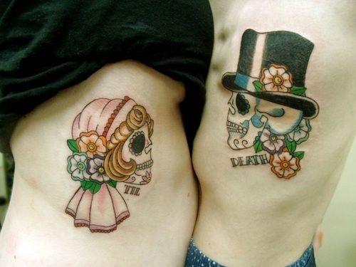 Bride and Groom Sugar Skull Tattoos