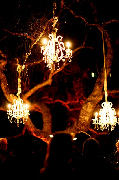 2. Hanging on a Tree... - 4 Ways to Shine with Wedding Chandeliers...…