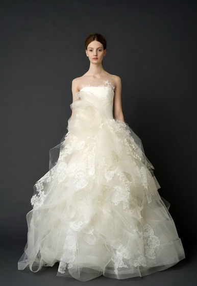 "Vera Wang ""Helena"" Ivory Strapless Ballgown with Appliques and Full Organza Skirt"