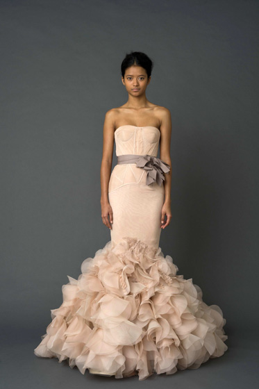 "Vera Wang ""Holly"" Pink Strapless Mermaid Gown with Corset Bodice and Petal Skirt"