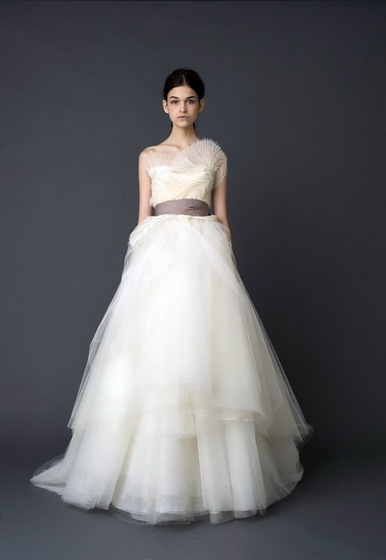 "Vera Wang ""Hazel"" Ivory Ballerina Ballgown with Pleated Bodice and Tiered Skirt"