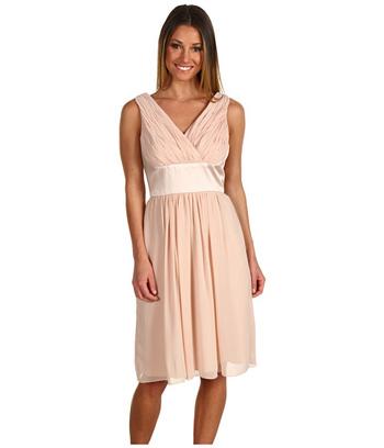 Donna Morgan Satin & Chiffon V-Neck Dress - 8 Bridesmaid…