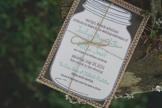 . mason jar rustic wedding invitation   unique rustic wedding…, Wedding invitations