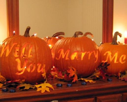 Halloween marriage proposal