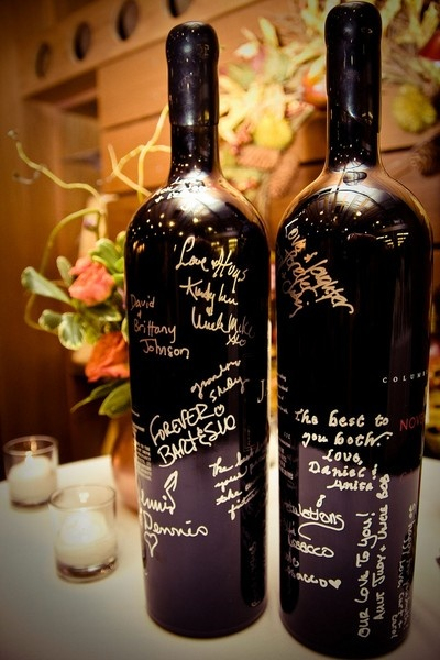 Lovely Wine Bottle Guestbook