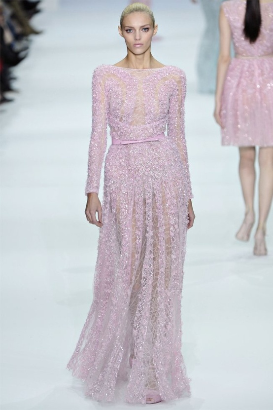 Elie Saab Pink Glitter Wedding Dress...