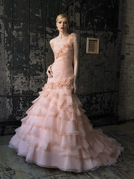 7 playful ruffle wedding dresses for Peach dresses for wedding