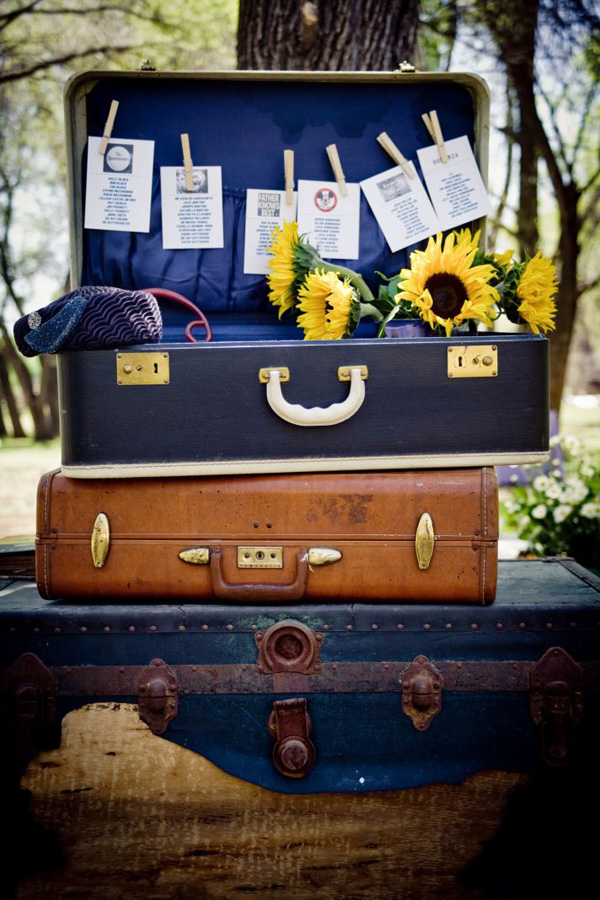7 ideas for a retro themed wedding for Table valise