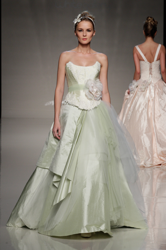 7 beautiful pastel wedding gowns for Pastel green wedding dress