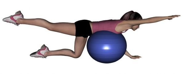 Prone Leg Lifts over a Ball