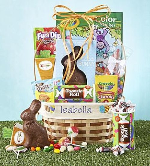 27 easter gift baskets filled with sweet treats you cant eggceptional personalized easter basket 4999 5999 negle Image collections