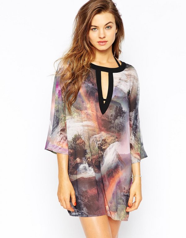 Ted Baker Landscape Cut out Beach Dress