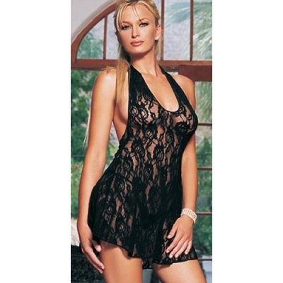 2Pc Halter Rose Lace Dress with G-String