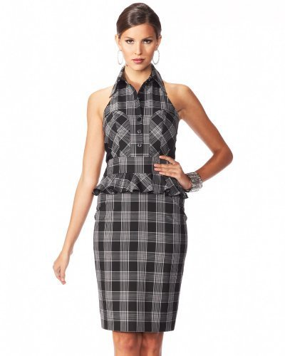 Window Plaid Pencil Halter Dress