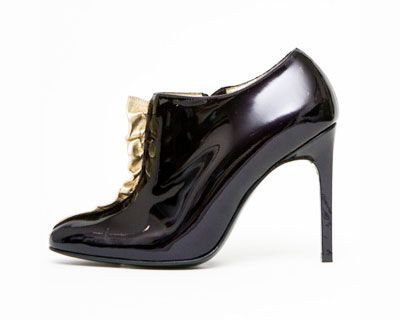 Bruno Frisoni Patent Leather Bootie with Gold Ruffle