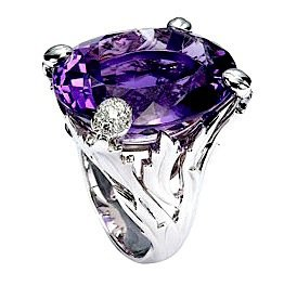 """Dior """"Miss Dior"""" Ring with White Gold, Diamonds and Amethyst"""