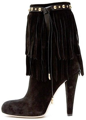 Suede Boots with Fringe and Stud Detail by Gucci