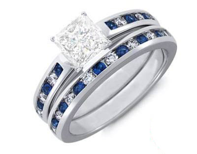 140 carat princess diamond and sapphire bridal set on 14k white gold - Affordable Diamond Wedding Rings