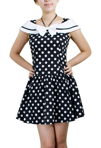 Sailor Inspired Vintage Polka-Dot Mini Dress