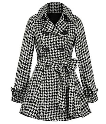 Fred Flare Pleated Houndstooth Victoria Coat