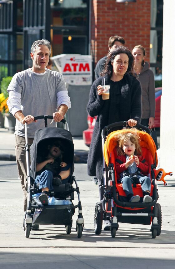 """The Daily Show"""" host Jon Stewart and his wife Tracy take their kids ..."""